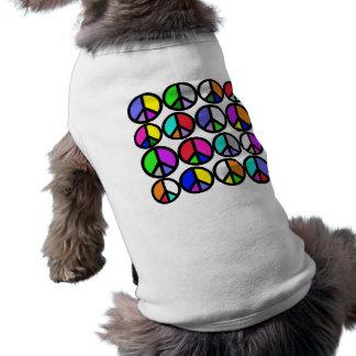 Multi-coloured Peace Symbols Pet T-shirt