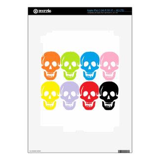 multi coloured skulls iPad 3 skin