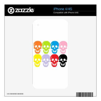 multi coloured skulls skins for iPhone 4S