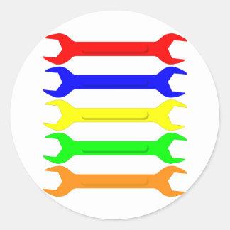 Multi-Coloured Spanners Classic Round Sticker