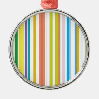 Multi Coloured Stripes Metal Ornament