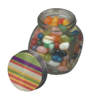 Multi-coloured stripes Three Jelly Belly Candy Jars