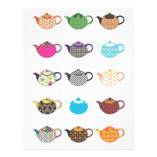 Multi-coloured Tea Kettles Personalized Flyer
