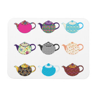 Multi-coloured Tea Kettles Magnet