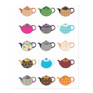Multi-coloured Tea Kettles Postcard