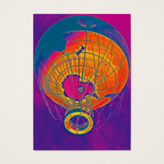 Multi-coloured World Globe Balloon, Purple Sky Business Card