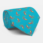 multi colourful crowing roosters on blue tie