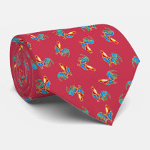 multi colourful crowing roosters on red neck tie