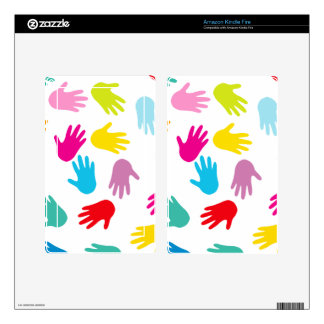 Multi Cultural Colorful Hands Decals For Kindle Fire