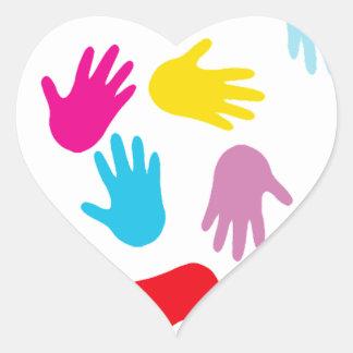 Multi Cultural Colorful Hands Heart Sticker