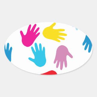 Multi Cultural Colorful Hands Oval Sticker