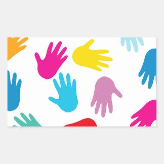 Multi Cultural Colorful Hands Rectangular Sticker