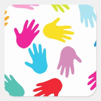 Multi Cultural Colorful Hands Square Sticker