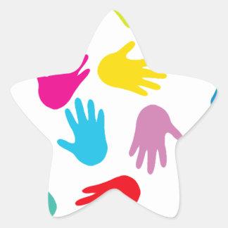 Multi Cultural Colorful Hands Star Sticker