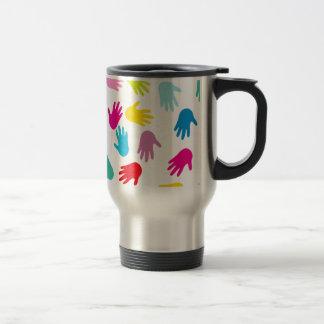 Multi Cultural Colorful Hands Travel Mug