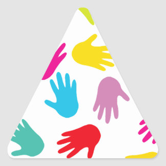 Multi Cultural Colorful Hands Triangle Sticker