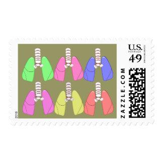 Multi de los pulmones coloreada--Diseño del Sellos Postales