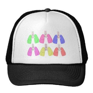Multi de los pulmones coloreada--Diseño del terape Gorras De Camionero
