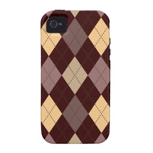 Multi de moda retro de Argyle Vibe iPhone 4 Carcasa