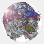 Multi del tigre coloreada en luz del punto pegatina redonda