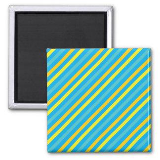 Multi Diagonal Stripe Blue Design 2 Inch Square Magnet