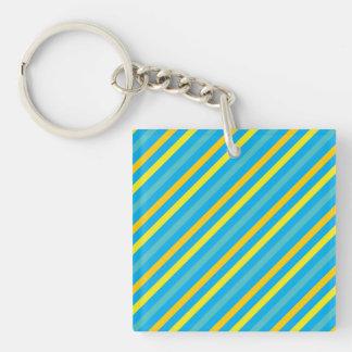 Multi Diagonal Stripe Blue Design Keychain