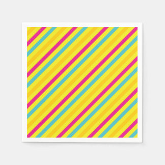 Multi Diagonal Stripe Yellow Design Napkin