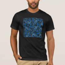 Multi Dimensional Paisley Pattern In Blue T-Shirt