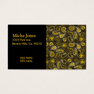 Multi Dimensional Paisley Pattern In Yellow Business Card
