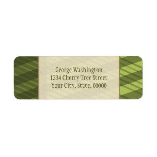 Multi Directional Olive Green Stripes Label
