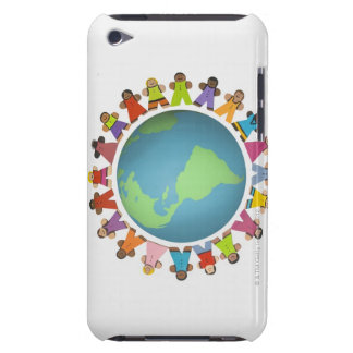 Multi ethnic figurines encircle the globe barely there iPod covers