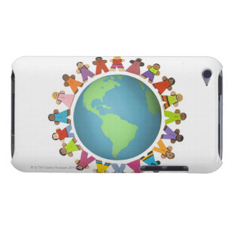 Multi ethnic figurines encircle the globe Case-Mate iPod touch case