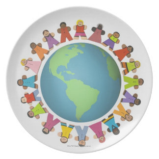 Multi ethnic figurines encircle the globe melamine plate