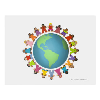 Multi ethnic figurines encircle the globe postcard