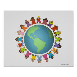 Multi ethnic figurines encircle the globe poster