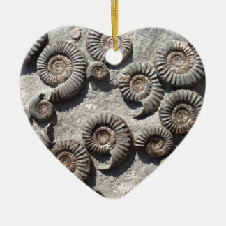 Multi fossil ammonites from the Lower Lias Double-Sided Heart Ceramic Christmas Ornament