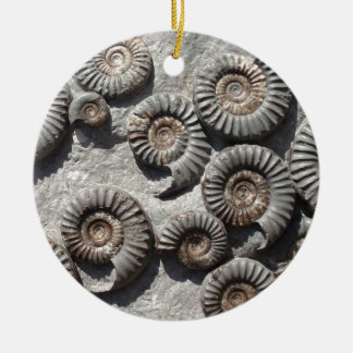 Multi fossil ammonites from the Lower Lias Double-Sided Ceramic Round Christmas Ornament