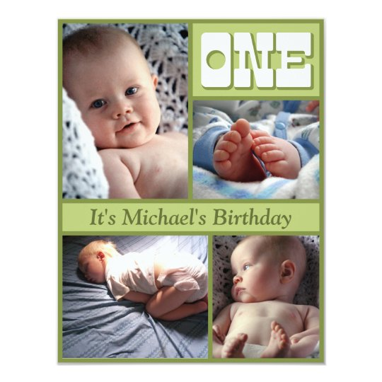 Multi Frame Green One Birthday Invitation