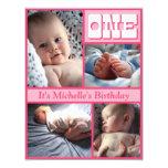 "Multi Frame Pink One Birthday Invitation 4.25"" X 5.5"" Invitation Card"