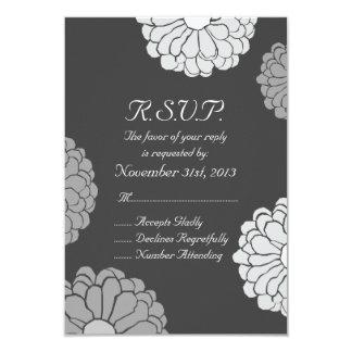 Multi Gray Zinnia Flower Wedding RSVP Card
