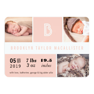 Multi Grid Baby Stats Photo Birth Announcement