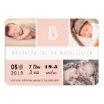 "Multi Grid Baby Stats Photo Birth Announcement 5"" X 7"" Invitation Card"
