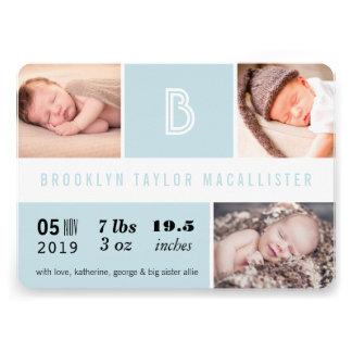 Multi Grid Baby Stats Photo Birth Announcement Personalized Invitation