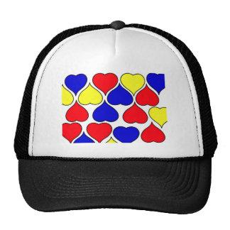 Multi heart trucker hat