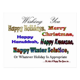 Multi holiday greetings postcard