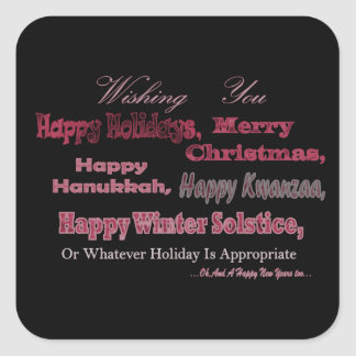 Multi Holiday Red on Black Square Sticker