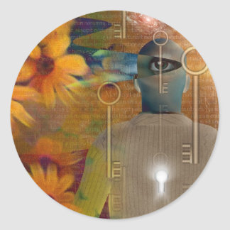 Multi image abstract classic round sticker