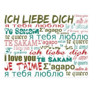 Multi-Language Love, Hearts - Blue Green Red Postcard