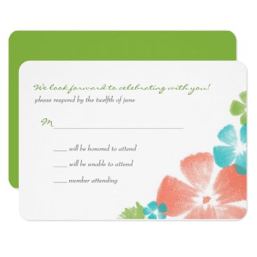 Beach Themed Multi Lime Watercolor FlowersWedding RSVP Card
