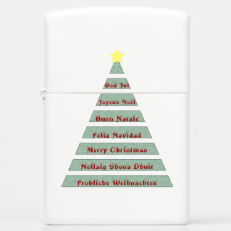 Multi-lingual Christmas Greeting Christmas Tree Zippo Lighter